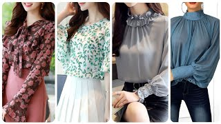 Stunning And Latest Women Elegant Chiffon Blouses Designs Floral Print & Plain Ruffle Blouse