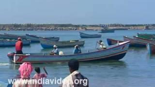 Fishing boats at Vizhinjam beach