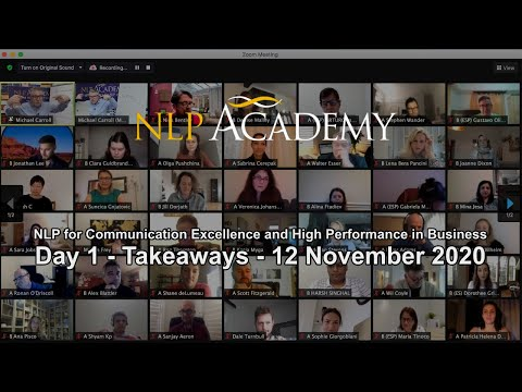 Day 1 - Takeaways - NLP for Communication Excellence and High Performance in Business