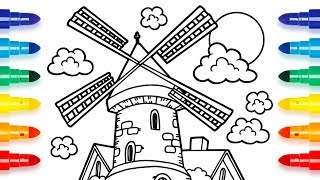 How to Draw Windmill on a Farm Coloring Pages | Videos for Kids