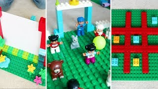 Easy LEGO Builds with LEGO DUPLO Bricks! Flick Football, Shadow Theatre and Tic Tac Toe Instructions