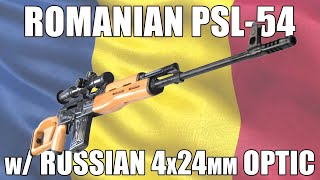 Romanian PSL-54 Rifle, 7.62x54R, 10rd, Laminated Stock, w/ Russian 4x24mm Optic