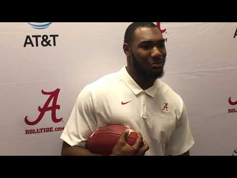 """Alabama linebacker Terrell Lewis brings his """"baby"""" to the interview"""