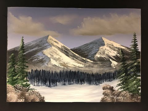 #251 How to paint Snow mountains in acrylic
