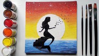 Step By Step Ariel Mermaid Painting For Beginners!