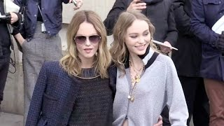 Vanessa Paradis and her daughter Lily Rose Depp, Anna Wintour and more arriving at the Chanel fashio