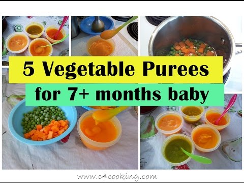 Video 5 Vegetable Purees for 7+ months baby ( Stage 2 - Homemade babyfood) | 7months babyfood recipes