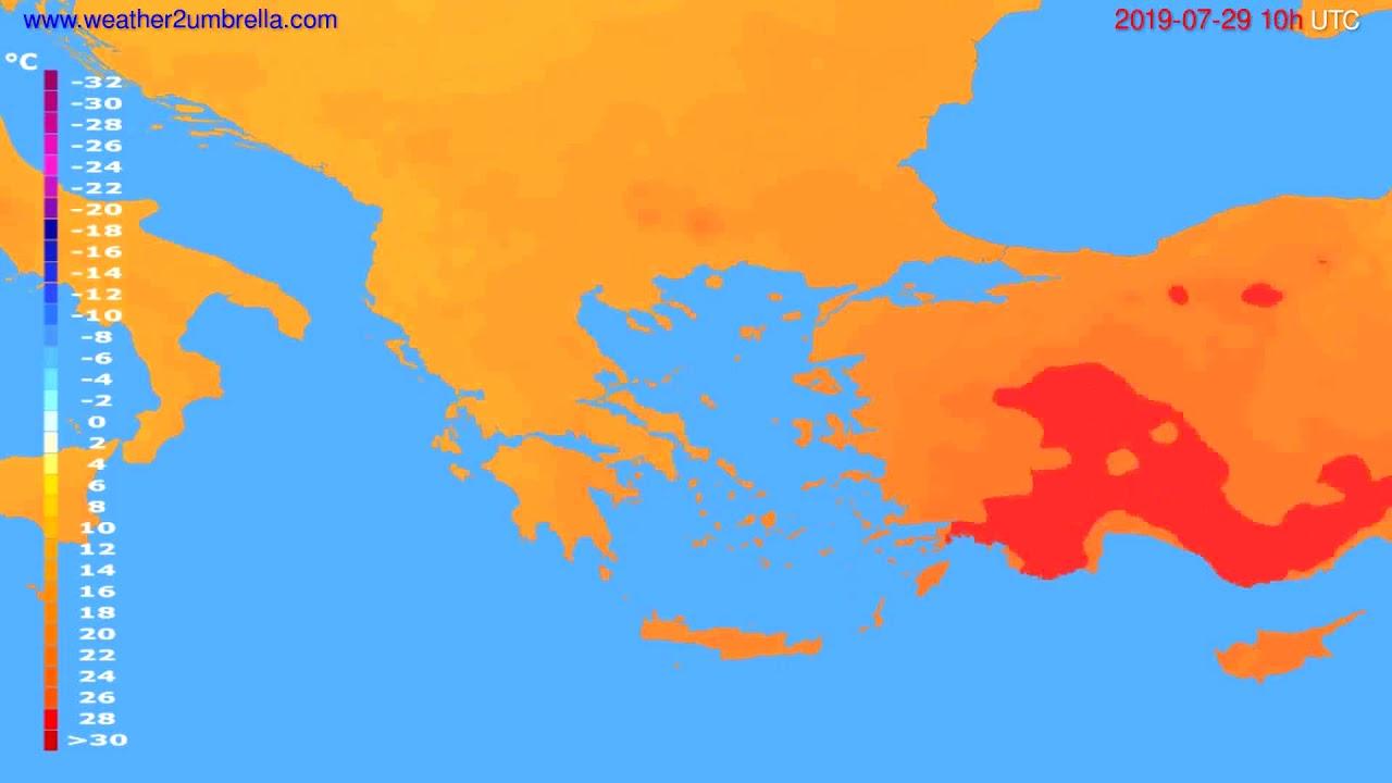 Temperature forecast Greece // modelrun: 00h UTC 2019-07-27