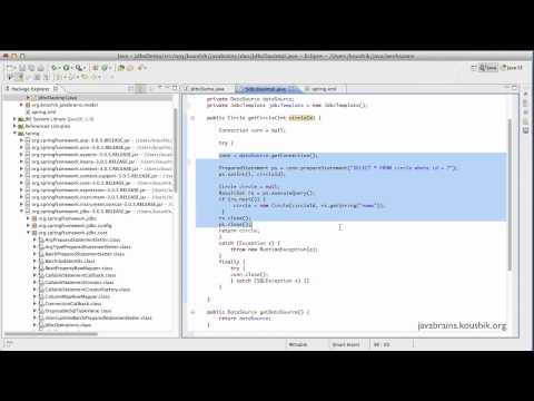 Spring tutorial 39 using jdbctemplate java brains for Jdbc template in spring