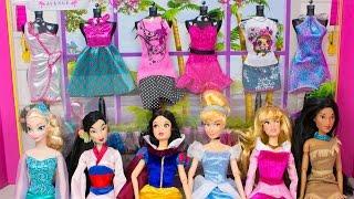 Barbie Doll Clothes Disney Princess Dress Up Challenge Frozen Elsa Snow White Cinderella Aurora