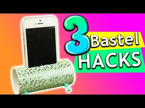 DIY | 3 Bastelideen mit Toilettenpapierrollen | BASTEL HACK | Handyhalterung, Deko & Stiftehalter