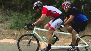 Visually impaired veterans developing tandem cycling skills
