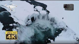 Godafoss Goðafoss Watherfall In Iceland, 4K DJI Phantom Drone And GoPro