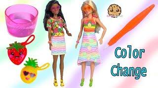 Color Change Barbie Dolls - Rainbow Fruit Dress Up - Cookie Swirl Video