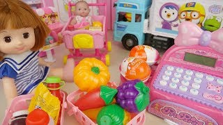 Delivery service and baby doll mart and food surprise eggs play house
