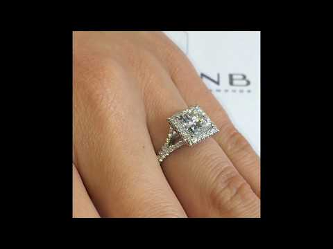 2 ct Princess Diamond Halo Engagement RIng