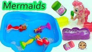 MLP Pinkie Pie Swims With Barbie Mini Mermaid Dreamtopia Bubbles N Fun Dolls