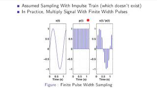 "Sampling as discussed so far has used an ideal impulse-train to multiply continuous-time signals to yield the desired temporally sampled signal.  Using this ideal impulse-train simplifies some of the mathematics since the frequency-domain representation of an ideal impulse-train is also an impulse train.  In the next few videos we examine if it's possible to temporally sample continuous-time signals with more ""practical"" pulsed waveforms.  This video introduces this basic concept."