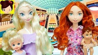 El Bebe de Elsa se pierde en el Centro Comercial de Barbie - Historia con Princesa Disney Merida