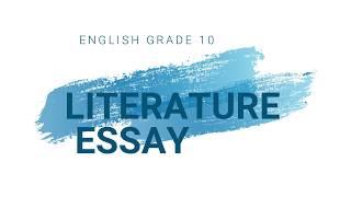 Grade 9 English Literature Essay (By J Judge)