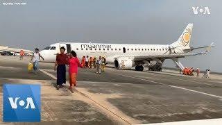 В Мьянме самолет совершил аварийную посадку после отказа шасси