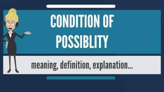 What is CONDITION OF POSSIBILITY? What does CONDITION OF POSSIBILITY mean?