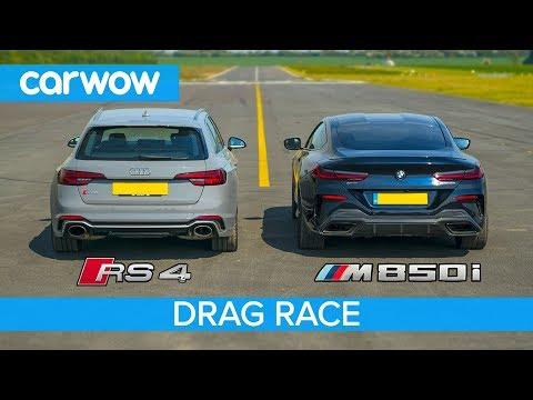 BMW M850i поединок Audi RS4 в гонках на выносках и колесах, испытание тормозов
