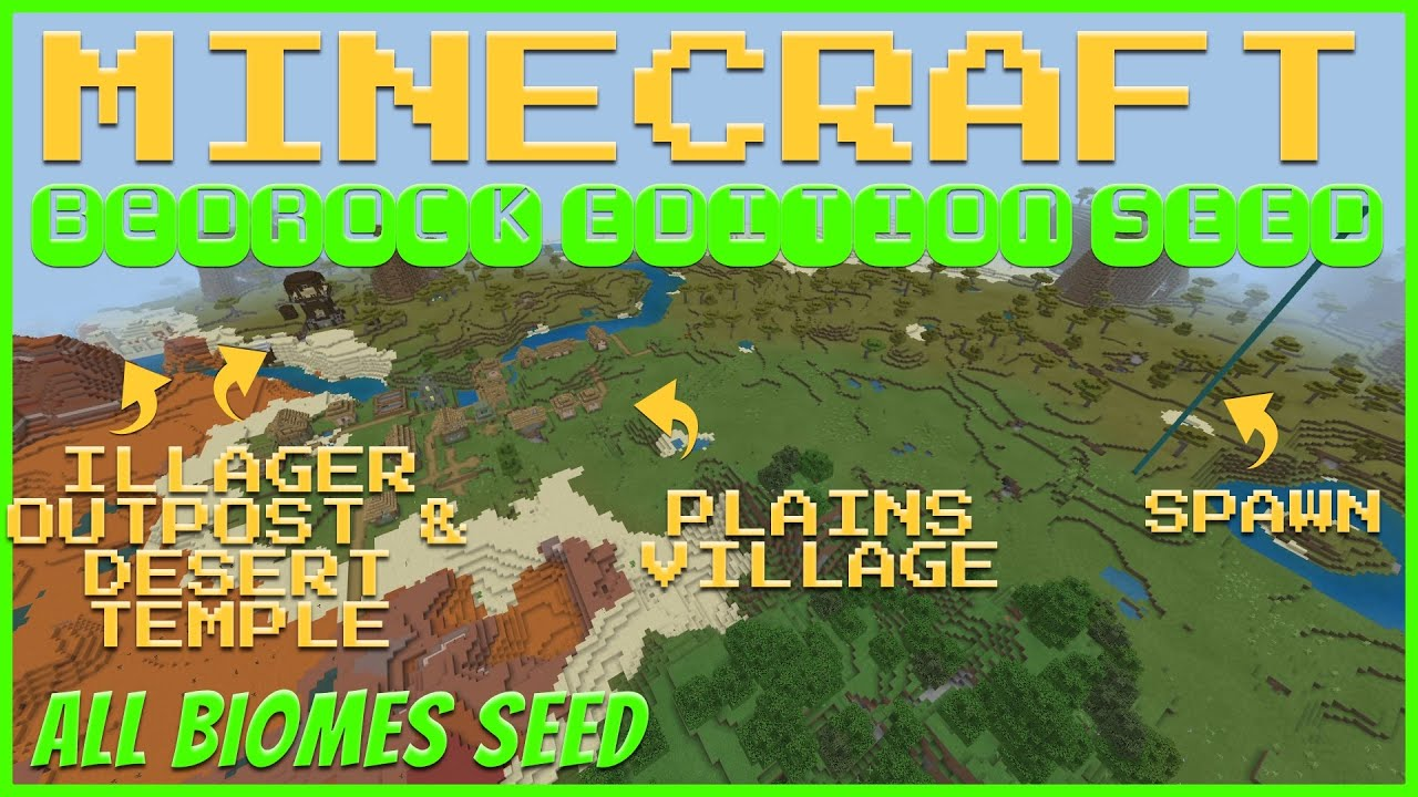 Minecraft Bedrock 1.14 All Biomes- Badlands Jungle Spawn Seed MINECRAFT SEED -2011295633
