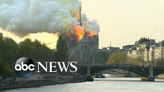 Fire nearly destroys Notre Dame cathedral