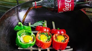 Chicken Eggs in Bell Peppers steamed Coca Cola | Eat well Morning Autum