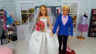 Barbie Ken Video Morning Bedroom Wedding Routine. Dress up dolls Wedding Dress.