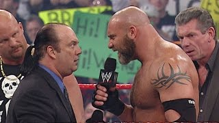 "Goldberg accidently spears ""Stone Cold"" after brutally spearing Heyman: Raw, Feb. 9, 2004"