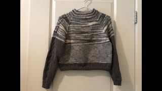 DIY KNIT TOP DOWN SEAMLESS BASIC SWEATER WITH DOUBLE RIB NECK & NECK EDGE INCLUDED