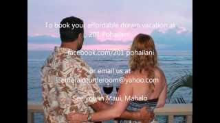 preview picture of video 'Affordable Oceanfront  Maui Vacation Rental; 201 Pohailani, The Emerald Turtle Room. Hawaii.'