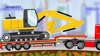Vehicles for kids. Excavator. Dump Truck. Cartoon.