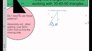 Special Right Triangles Notes