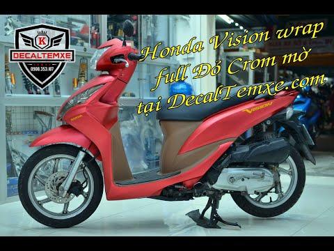 Honda Vision wrap full đỏ crom mờ