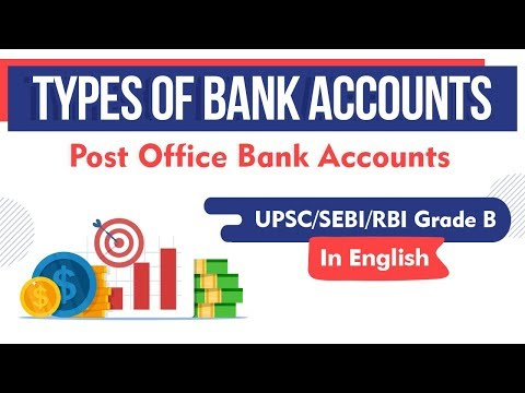 Types of Bank Accounts - Post Office Bank Accounts explained for UPSC, SEBI, RBI Grade B exams