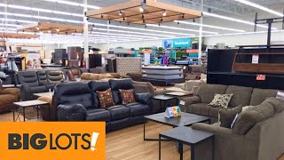 BIG LOTS SHOP WITH ME HOME FURNITURE SOFAS COUCHES ARMCHAIRS TABLES SHOPPING STORE WALK THROUGH 4K