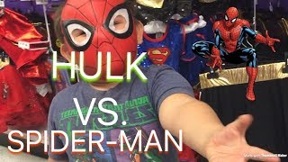 HULK VS. SPIDER-MAN!! Halloween Costumes At Party City!