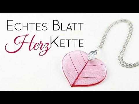 Herz Blatt Resin Kette   Schmuck Anleitung ohne Form   Valentinstag Gießharz DIY   Skelettblatt Idee