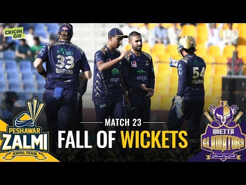 PSL 2019 Match 23: Quetta Gladiators v Peshawar Zalmi | SPRITE FALL OF WICKETS