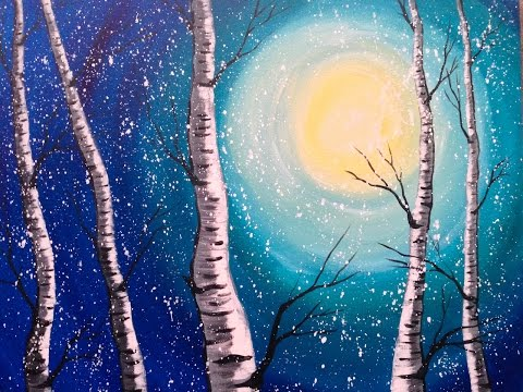 Beginner Acrylic Painting Class Birch Trees #lovewinterart | TheArtSherpa