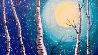 Beginner Acrylic Painting Class  Birch Trees  #lovewinterart