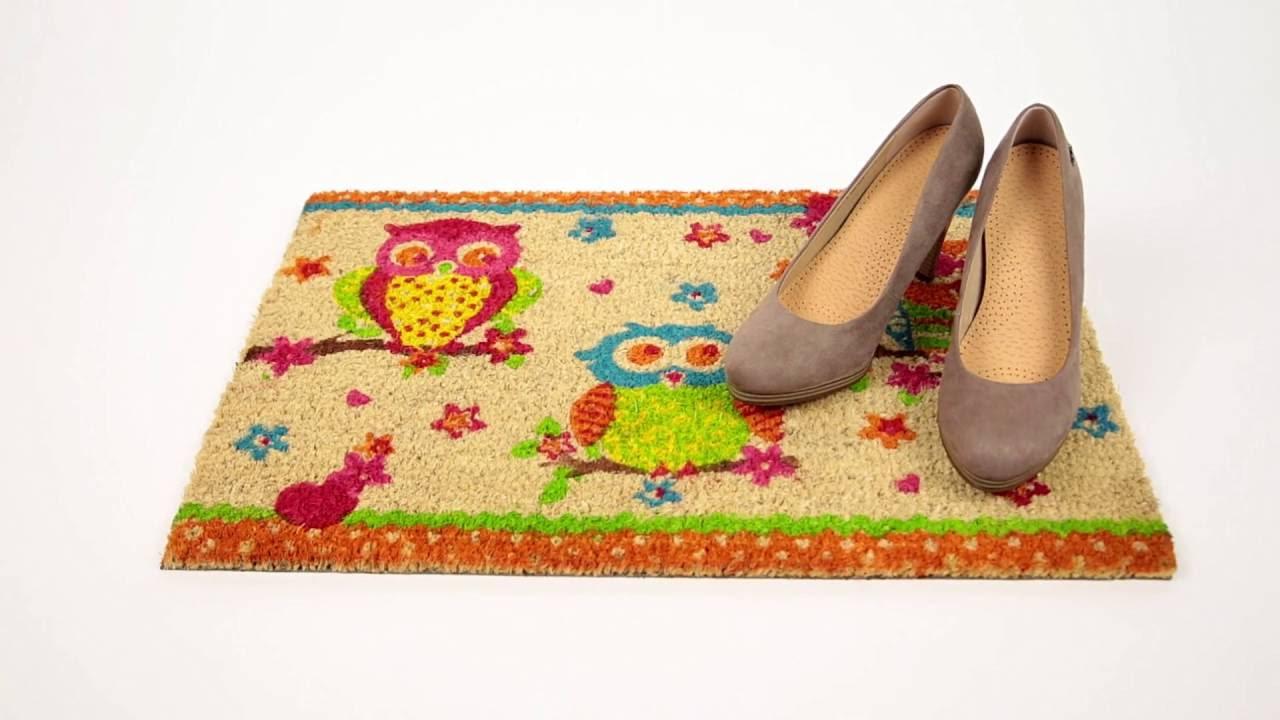 Video von: Fußmatte 3 Eulen Kokos bunt 40x60 cm