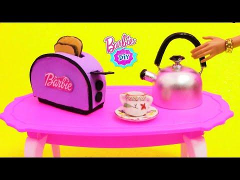 Como hacer TOSTADORA y CAFETERA  para COCINA de MUÑECAS Barbie muy FÁCIL! MANUALIDADES PARA MUÑECAS