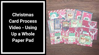 Christmas Card Process Using Pre-Decorated Card Bases, Rub-ons and Scraps - Using Up a Whole Pad