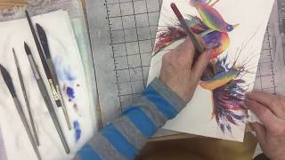 Painting Colorful Birds In Watercolor 2