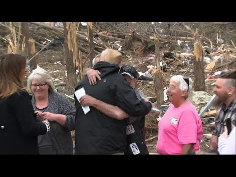 President Donald Trump and first lady Melania Trump visited the storm-ravaged town of Beauregard, Alabama Friday to survey the damage and comfort survivors after a powerful tornado roared through last Sunday, killing nearly two dozen people.  (March 8)