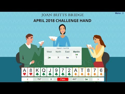 April 2018 Challenge Hand - Learn To Play Bridge With Joan Butts